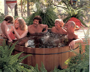 original Americal hot tubs were made from barrels