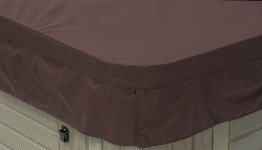 Polyester hot tub cover in Brazilian Mahogany